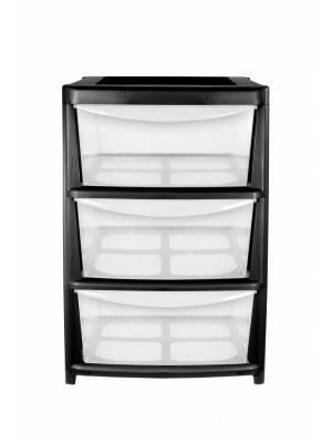 A4 4Drawer Plastic Storage Unit Black- Homes/Office/Bedroom