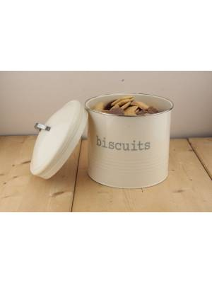 Airtight Round Shaped Biscuits Storage Canister,Cream