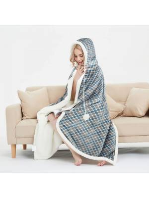 Check Design Super Soft Warm Sherpa Fleece Wearable Hooded Blanket Throw