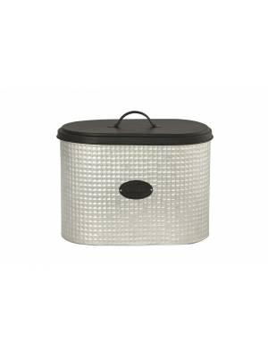 Chic 2 Tone Space Saving Steel Black and Silver Bread Bin