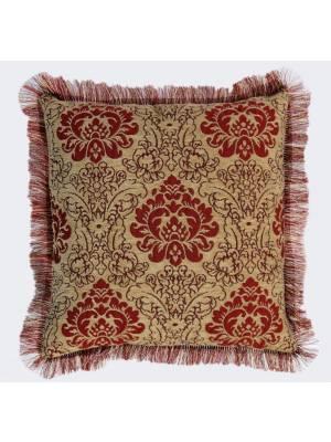 Damask  Chenille Jacquard Cushion Cover With Rafael Fringed