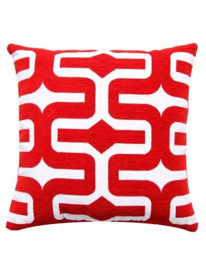 """Classic Chenille Moroccan Cushion Cover 17"""" x 17"""" - Red"""