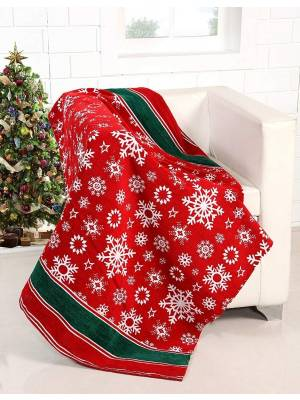 Merry Christmas Tree Pattern Sofa Bed Throw , 127 x 152 cm - Red/Green
