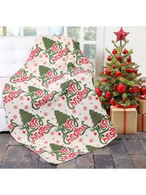 EHC Jacquard Tapestry Reversible Merry Christmas Throw -127 x 152cm