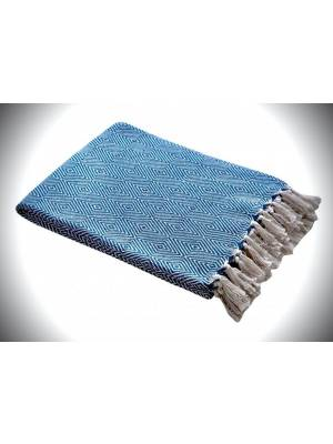 EHC Luxury Super Soft Cotton Diamond Large Throw - Teal, 150 x 200 cm