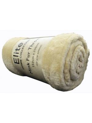 EHC Luxury Super Soft Fluffy Snugly Solid Flannel Fleece Blanket or Sofa Throw, Cream 150cm x 200cm