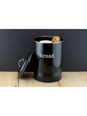 Round Black Enamel Bread Bin Crock Storage Canister Jar, Black