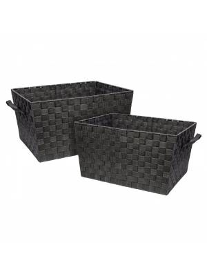 Set Of 2 Polypropylene Woven Strap Storage Shelf Basket, Grey