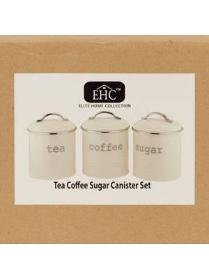 EHC Set of 3 Airtight Tea Sugar and Coffee Storage Canister , Cream