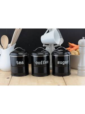 Set of 3 Airtight Tea Sugar and Coffee Storage Canister Jars, Black