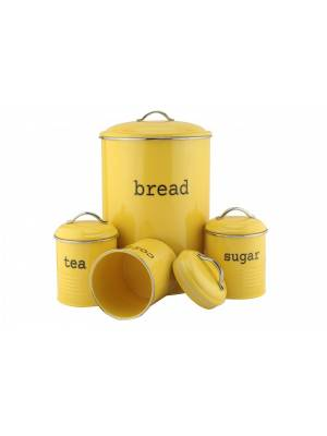 Set of 4 Round Tea, Coffee & Sugar Jars With Bread Bin - Custard