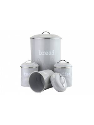 Set of 4 Round Tea, Coffee & Sugar With Bread Bin Storage Canisters Jars- Grey