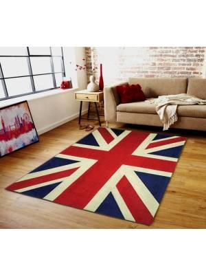 Elegant Union Jack Woven Chenille Floor Carpet Rug