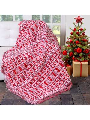 Festive XMas Reversible Snowflakes Sofa Bed Throw-127 x 152cm