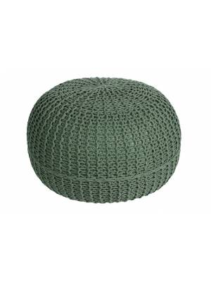 HandKnitted Double Braided  Cotton Round Pouffe- Smoke