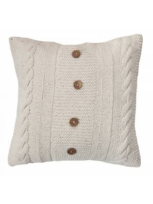 Handmade CableKnit Cotton Cushion Cover With Wooden Buttons & Insert-Cream