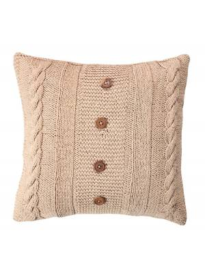 Handmade CableKnit Cotton Cushion Cover With Wooden Buttons & Insert-Linen