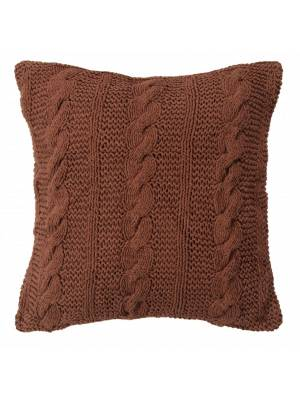 HandMade Chunky CableKnit Cotton Cushion Cover - 40 x 40 cm, Chocolate