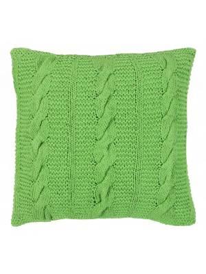 HandMade Chunky CableKnit Cotton Cushion Cover  - 40 x 40 cm, Green