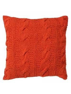 HandMade Chunky CableKnit Cotton Cushion Cover  - 40 x 40 cm, Orange