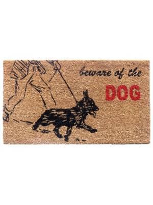 """Heavy Duty Indoor PVC Coir Entrance Door Mat """"Beware of Dogs"""""""