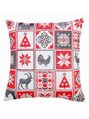 Jacquard Tapestry Chenille Glittered Festive Xmas Cushion Cover-45 x 45cm