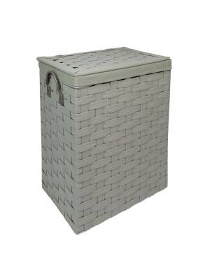 Large Laundry Linen Basket With Lid & Faux Leather Handle, Grey