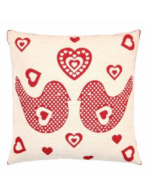 Love Birds Jacquard woven Cushion Cover Sofa Bed Pillow Case with Inserts