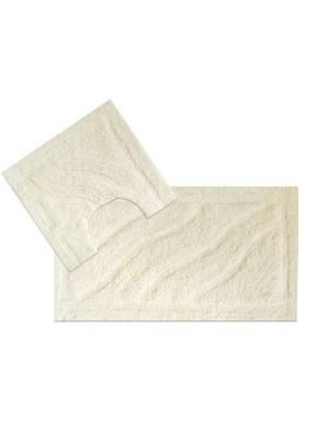 Luxurious 2-Piece Cotton Bath Mat and Pedestal Set- Cream