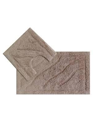 Luxurious 2-Piece Cotton Bath Mat and Pedestal Set- Mocha