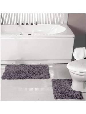 Luxurious 2-Piece Cotton Bath Mat and Pedestal Set- Smoke
