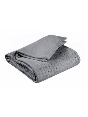 Luxury Hand Woven Light & Soft Cotton Adult Cellular Blanket Single-Smoke