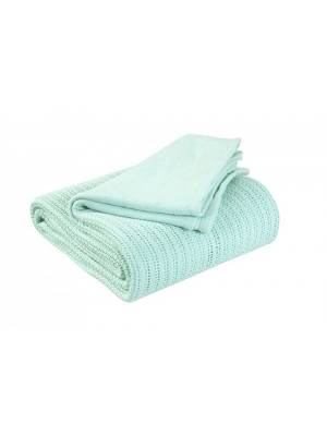 Luxury Hand Woven Light & Soft Cotton Gaint Adult Cellular Blanket -Mint