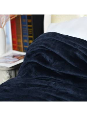 Luxury Super Soft & Fluffy Large Flannel Blanket- Navy Blue (150 X 200 Cm)