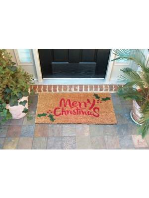 Merry Christmas Hard Wearing Decorative Coir & PVC Backed Doormat