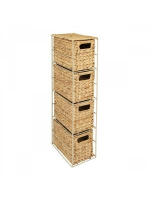 Natural Hyacinth 4 Drawer Hand Woven Tower Storage Unit Home Bathroom Office