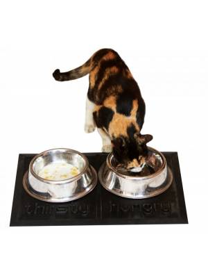 Pet Comfort 'hungry' & 'thirsty' NoN Slip Pet Food Bowls Rubber Mat