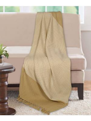 Premium Acyrilic Soft & Light Throw for Sofa Armchair, Single - Beige