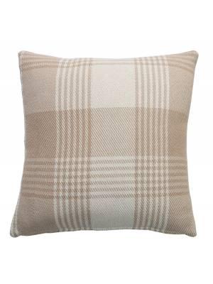 Premium Tartan Cotton Cushion Cover- Beige (45cm x 45cm)