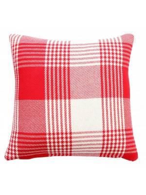Premium Tartan Cotton Cushion Cover- Red (45cm x 45cm)