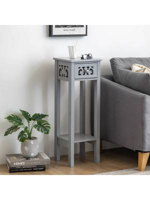 Provence Fretwork French Inspired Hallway MDF Bedside Unit - Grey