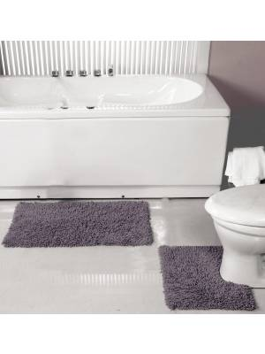 Pure Cotton,Washable 2 Piece Bathmat & Pedestal Anti-Slip Back Set-Smoke