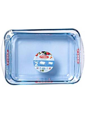 Pyrex Classic 2 Pcs Rectangular Glass Baking Roasting Bake Roaster Dish Set