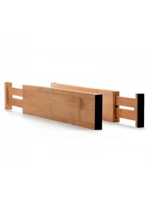 Set of 2 Expandable Bamboo Wooden Drawer Separators Organizers