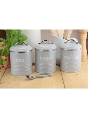 Set of 3 Airtight Round Tea Sugar and Coffee Storage Canister Jars, Grey