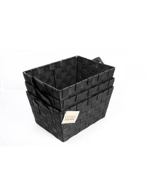 Set Of 3 Rectangular Woven Strap Storage Basket With Carry Handles, Black