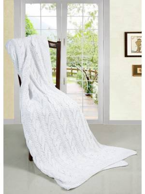 Super Chunky Large Hand Knitted Cotton Blanket Throw, White - 140 x 200cm