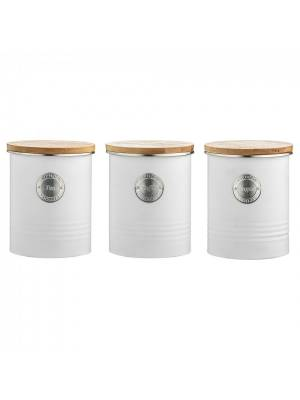 Typhoon Arctic Set of Tea, Coffee & Sugar Container with Lid - White