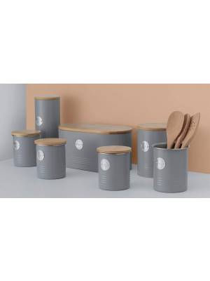 Typhoon Living Airtight Seal Cookie Storage Canister with Bamboo Lid, Grey