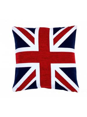 Union Jack Design Chenille Jacquard Cushion Cover- Red and Blue